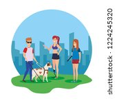 blind man with guide dog and... | Shutterstock .eps vector #1224245320
