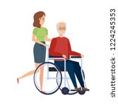 old man in wheelchair with... | Shutterstock .eps vector #1224245353