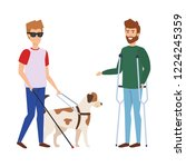 blind man with guide dog and... | Shutterstock .eps vector #1224245359