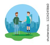 men with crutches and... | Shutterstock .eps vector #1224245860