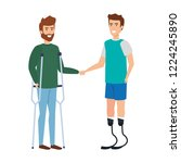 men with crutches and... | Shutterstock .eps vector #1224245890