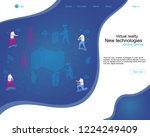 team of young people playing in ... | Shutterstock .eps vector #1224249409