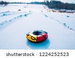 snow tubing. sleigh on the top... | Shutterstock . vector #1224252523