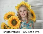 beautiful blue eyed young girl... | Shutterstock . vector #1224255496
