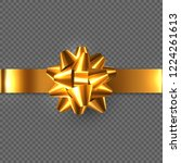 realistic glossy golden bow... | Shutterstock .eps vector #1224261613