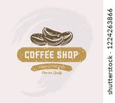 coffee shop label with retro... | Shutterstock .eps vector #1224263866