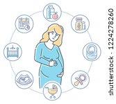 pregnancy   colorful line... | Shutterstock . vector #1224278260