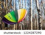 open colored umbrella hanging... | Shutterstock . vector #1224287290