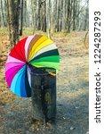 opened multi colored umbrella... | Shutterstock . vector #1224287293