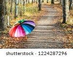 multi colored umbrella rests on ... | Shutterstock . vector #1224287296