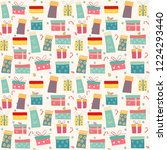 doodle colorful gift boxes... | Shutterstock .eps vector #1224293440
