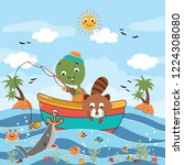 funny animals catch fish in the ... | Shutterstock .eps vector #1224308080