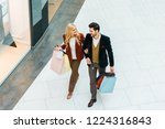 overhead view of young couple... | Shutterstock . vector #1224316843