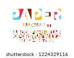 paper applique font  alphabet... | Shutterstock .eps vector #1224329116