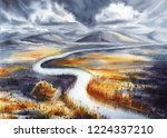 watercolor landscape with... | Shutterstock . vector #1224337210