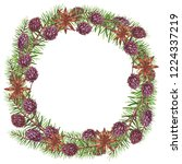round traditional wreath with... | Shutterstock . vector #1224337219