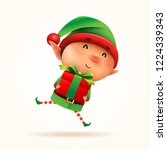 little elf with gift present.... | Shutterstock .eps vector #1224339343