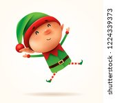 little elf jumps. isolated. | Shutterstock .eps vector #1224339373