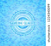 genuine quality sky blue emblem ... | Shutterstock .eps vector #1224340099