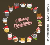 cat icon in christmas and...