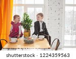 cute young brother and sister...   Shutterstock . vector #1224359563