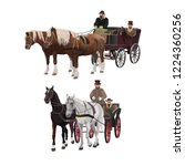 set of old horse drawn four... | Shutterstock .eps vector #1224360256
