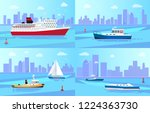 big steamer  fishing boat ... | Shutterstock .eps vector #1224363730