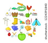 agriculture icons set. cartoon... | Shutterstock .eps vector #1224391840