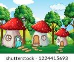 enchanted mushroom house in... | Shutterstock .eps vector #1224415693