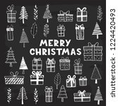 hand drawn set of christmas... | Shutterstock .eps vector #1224420493