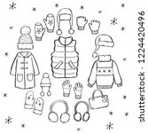 hand drawn set of winter... | Shutterstock .eps vector #1224420496