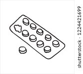pack pills vector sketch icon... | Shutterstock .eps vector #1224421699
