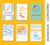 vector set of four cards with... | Shutterstock .eps vector #1224422983