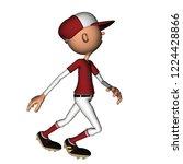 toon boy baseball character 2d... | Shutterstock . vector #1224428866