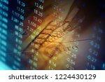 financial data on a monitor.... | Shutterstock . vector #1224430129