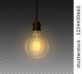 realistic glowing lamp hanging... | Shutterstock .eps vector #1224430663
