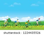 group of cyclist riding on the... | Shutterstock .eps vector #1224435526