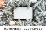 christmas frame background with ... | Shutterstock . vector #1224439813