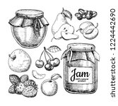 fruit jam glass jar drawing.... | Shutterstock . vector #1224442690