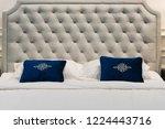 Modern Blue Fabric Pillow On A...