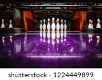 Small photo of bowling alley. pins