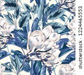 blue bright repeating botanical ... | Shutterstock .eps vector #1224465553