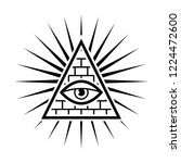 all seeing eye. sign masons.... | Shutterstock .eps vector #1224472600