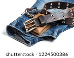 blue jeans and men accessories. ... | Shutterstock . vector #1224500386
