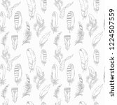 feather seamless pattern hand... | Shutterstock .eps vector #1224507559
