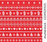 winter folk art vector seamless ... | Shutterstock .eps vector #1224525523