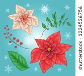 poinsettia flowers and... | Shutterstock .eps vector #1224526756