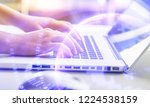 woman hand using laptop with... | Shutterstock . vector #1224538159