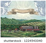 rural landscape with a farm and ... | Shutterstock .eps vector #1224543340