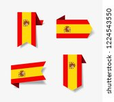 spanish flag stickers and... | Shutterstock .eps vector #1224543550